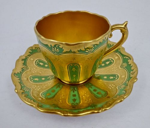 Antique Coalport Demitasse Cup & Saucer, Enameled, Gilded