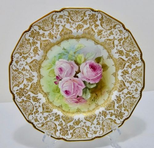 Antique Royal Doulton Cabinet Plate with Roses by Hart