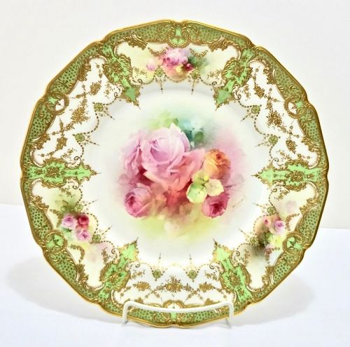 Antique Royal Doulton Cabinet Plate with Roses by Curnock
