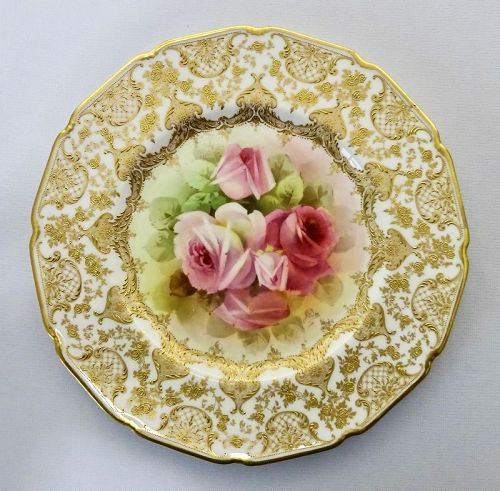 Antique Royal Doulton Cabinet Plate with Roses by Price