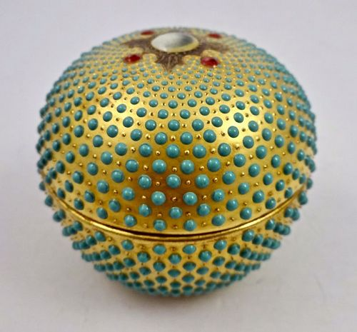 Antique Coalport Jeweled Trinket Box