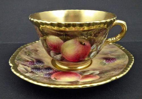 Vintage Royal Worcester Tea Cup & Saucer, Fruits