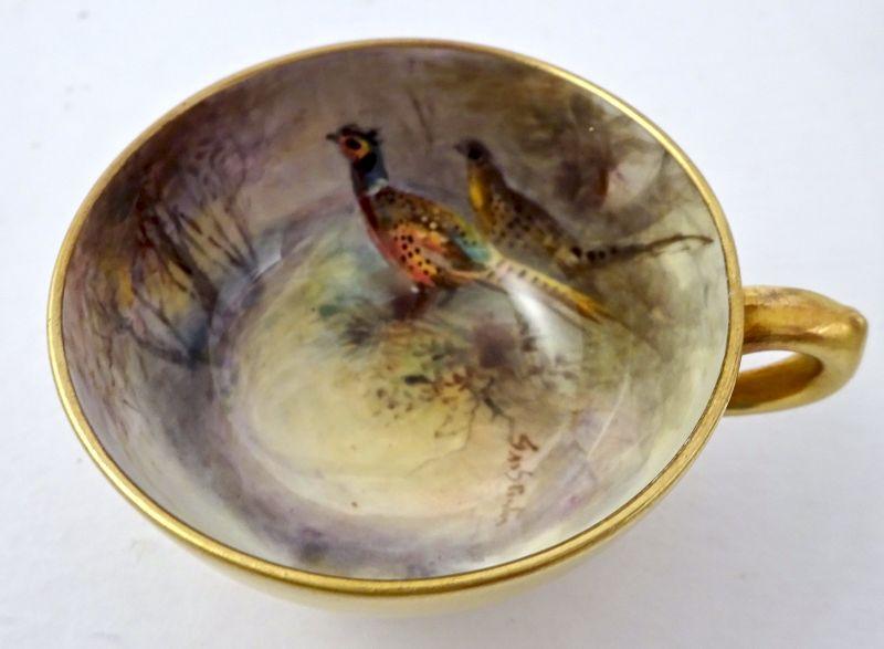 Antique Worcester Demitasse Cup & Saucer, Signed Stinton, Pheasents