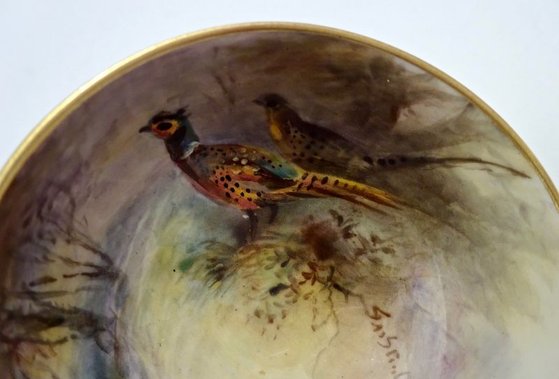 Antique Worcester Demitasse Cup & Saucer, Signed Stinton, Pheasents