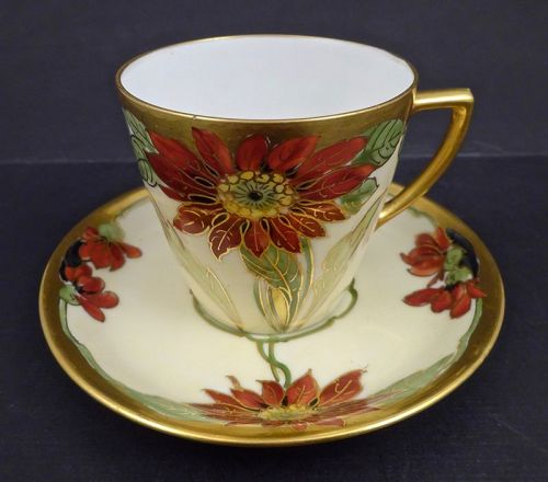 Antique Brauer Art Nouveau Demitasse Cup & Saucer