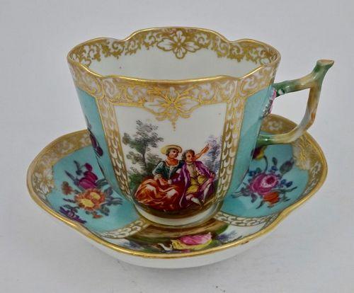 Antique Dresden Chocolate Cup & Saucer, Quatrefoil Shape