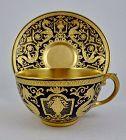 Antique Coalport Tea Cup & Saucer, Cobalt & Gold
