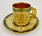 Antique Hirsch Dresden Demitasse Cup & Saucer, Encrusted Gold