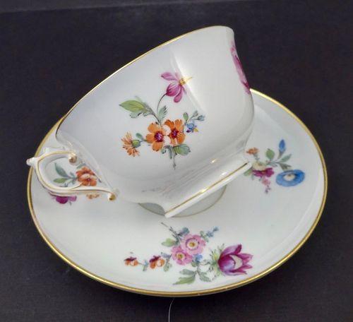 Antique KPM Demitasse Cup & Saucer Floral