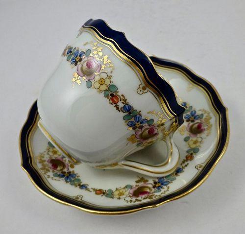 Antique Meissen Demitasse Cup & Saucer Floral Garlands
