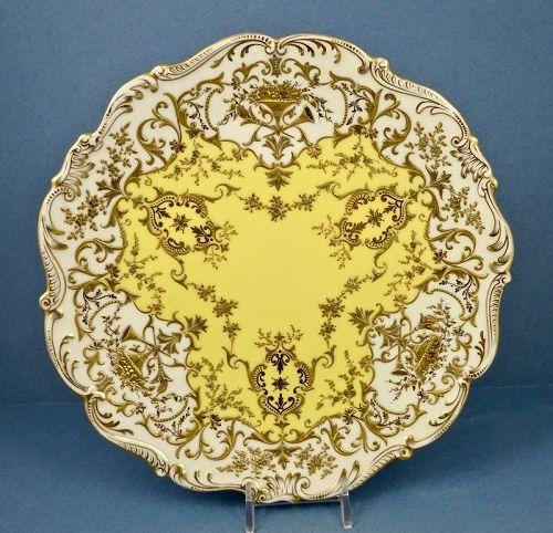 Antique Coalport Plate, Jeweled, Enamel