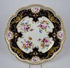 Antique Cauldon Cabinet Plate Cobalt Blue & Floral