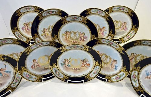 12 Antique Sevres Cabinet Plates