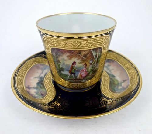 Antique French Tea Cup & Saucer, Scenic