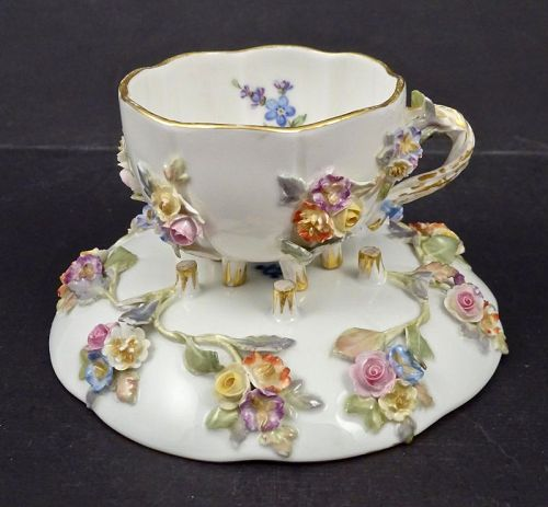 Antique Miessen Demitasse Cup & Saucer, Encrusted