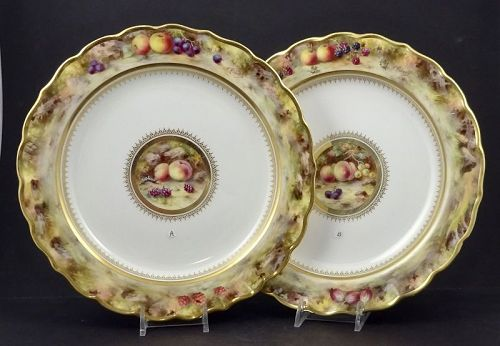 Antique Royal Worcester Plate Fruits  A - B