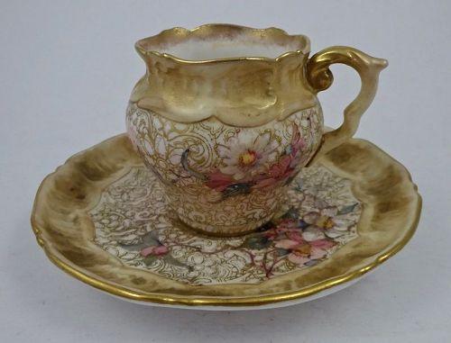 Antique Doulton Burslem Demitasse Cup & Saucer