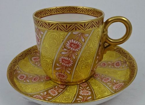 Antique Royal Worcester Demitasse Cup & Saucer, Aesthetic