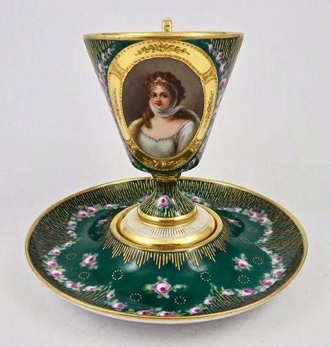 Antique Klemm Dresden Portrait Cup & Saucer