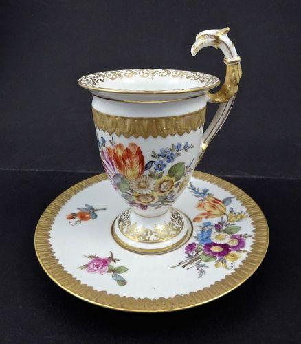 Antique Hirsch Dresden Chocolate Cup & Saucer Bird Handle