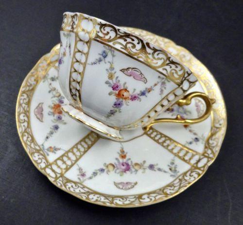 Antique Hirsch Dresden Tea Cup & Saucer