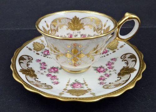 Antique Cauldon Demitasse Cup & Saucer, Roses