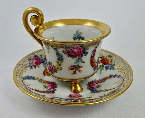 Antique Kestner Dresden Demitasse Cup & Saucer, Footed