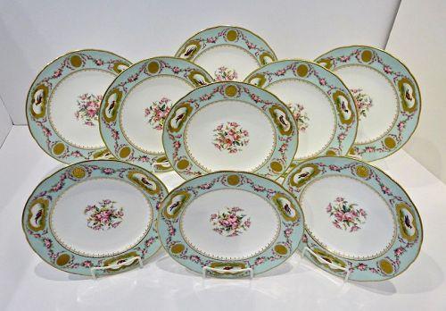 8 Antique Minton Plates, Hand Painted