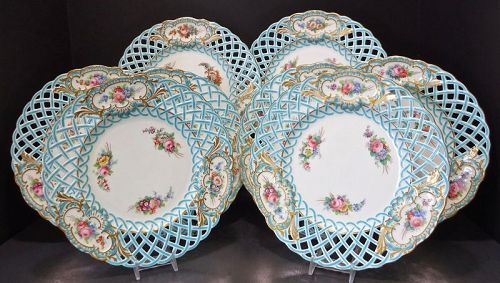 8 Antique Minton Plates Reticulated French Enamel