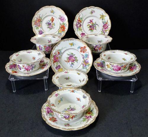 6 Antique Dresden Ramekin Custard Cups & Saucers