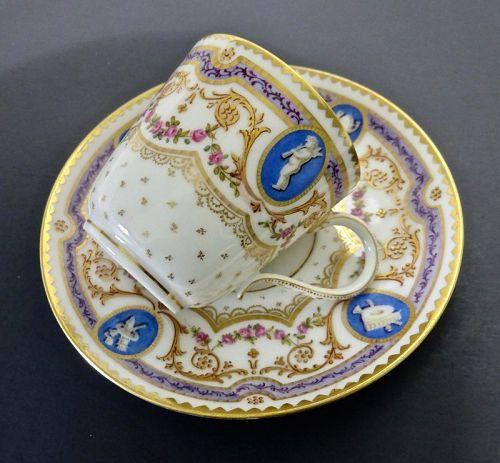 Antique Lerosey Tea Cup & Saucer