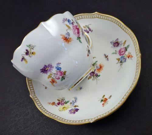 Antique Meissen Tea Cup & Saucer, Floral