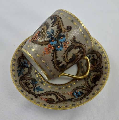 Antique Demartine Limoges Demitasse Cup & Saucer, Made for Tiffany
