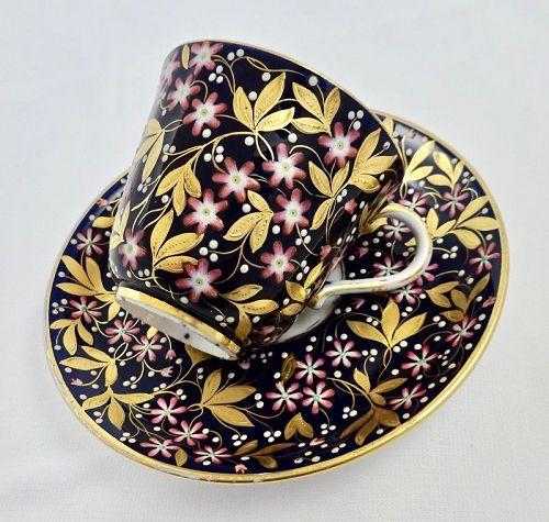 Antique Coalport Tea Cup & Saucer, Jeweled