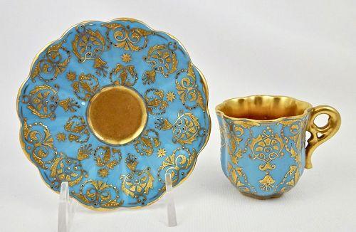 Antique Coalport Demitasse Cup & Saucer, Sky Blue