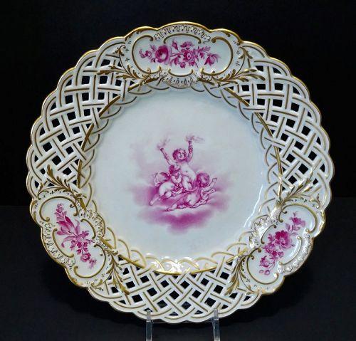Antique Meissen Cabinet Plate, Cherubs, Reticulated