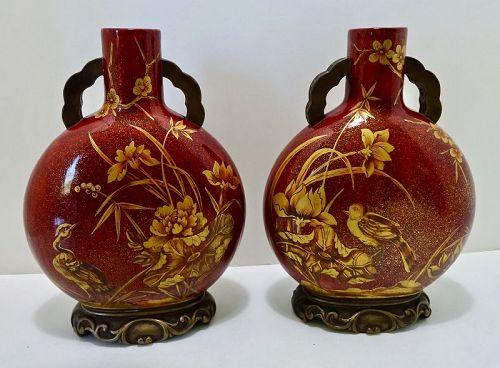 Antique Pair of Royal Worcester Japonesque Vases
