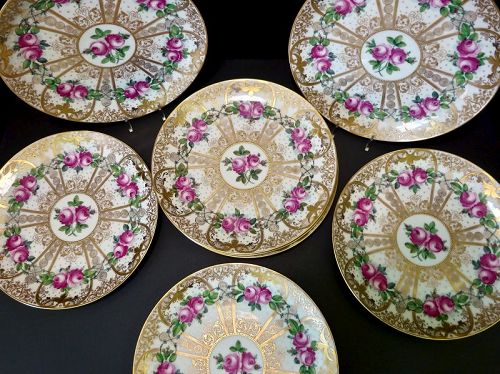 8 Antique Rosenthal Dessert Plates, Roses