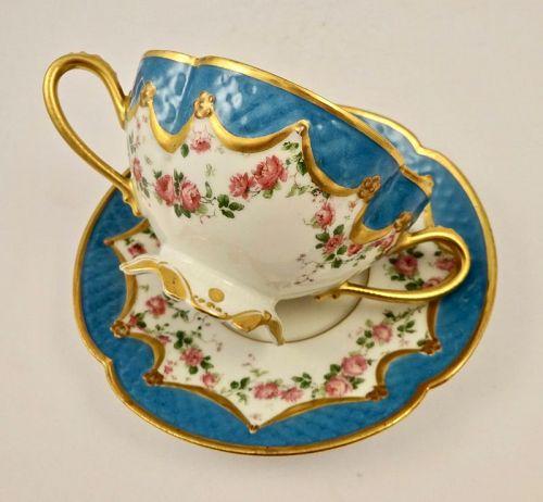 6 Antique Haviland & Co. Limoges Soup Cups & Saucers Celeste Blue