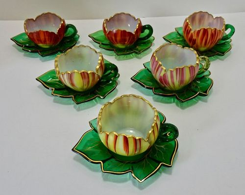 6 Theresienthal Glass Cups & Saucers, Flora Form