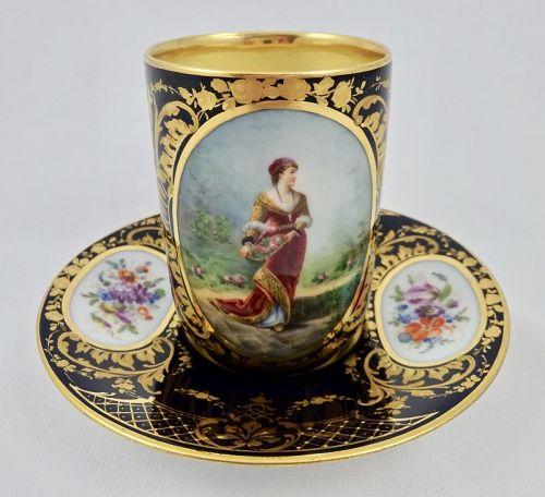 Antique Klemm Dresden Chocolate Cup & Saucer, Portrait