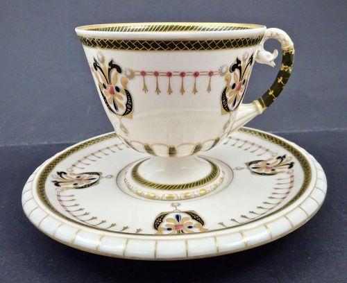 Alfred Stellmacher Turn Teplitz Tea Cup & Saucer, Jeweled