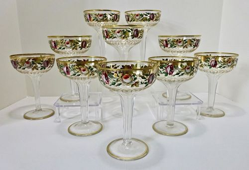 10 Antique Bohemian Champagne Glasses, Hand Enameled