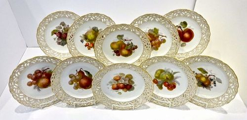 10 Antique KPM Plates, Reticulated, Fruits