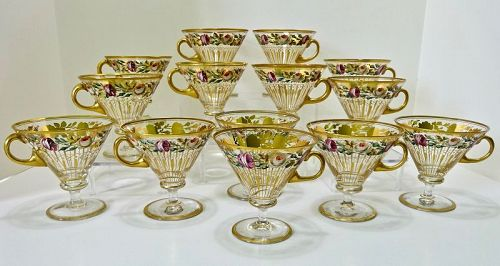 14 Antique Bohemian Glass Punch Cups