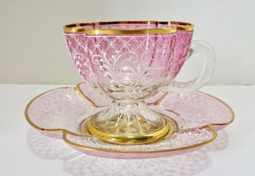 Antique Lobmeyr Cup & Saucer, Enameled
