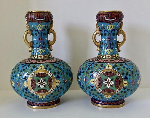 Pair Mintons Vases, Cloisonne Enamel