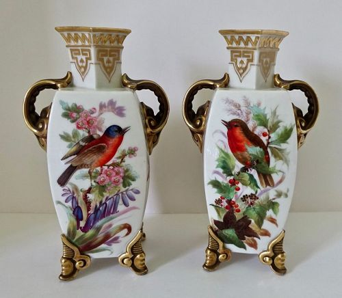 Antique Pair Royal Worcester Aesthetic Vases