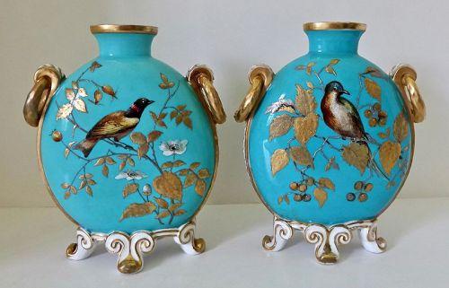 Antique  Pair Crown Derby Moon Flask Vases