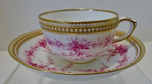 Antique Royal Worcester Tea Cup & Saucer, Jeweled